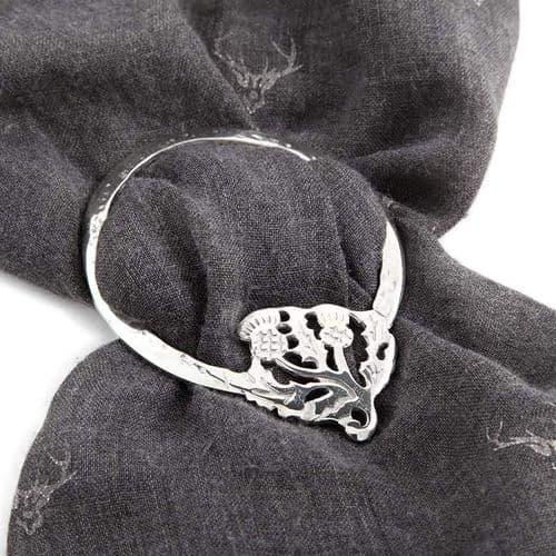 Scottish Thistle Flowers Pewter Scarf Ring / Sash Ring Gift Boxed - LSR24